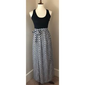 Love, Fire Maxi Dress with Racerback, Black/White
